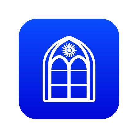 Oriental window frame icon blue vector  イラスト・ベクター素材