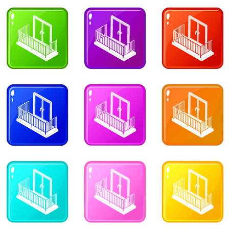 Balcony with metal fencing icons set 9 color collection Stock Illustratie