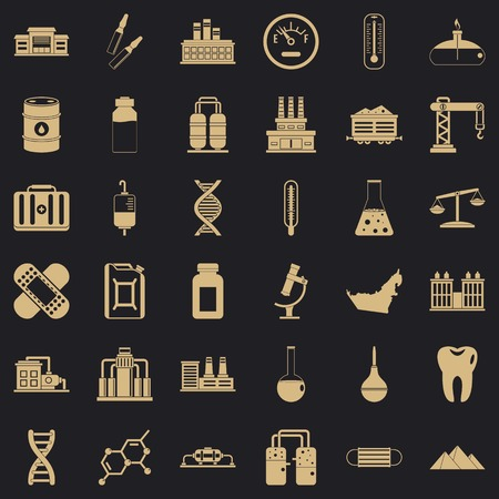 Chemical factory icons set, simple style
