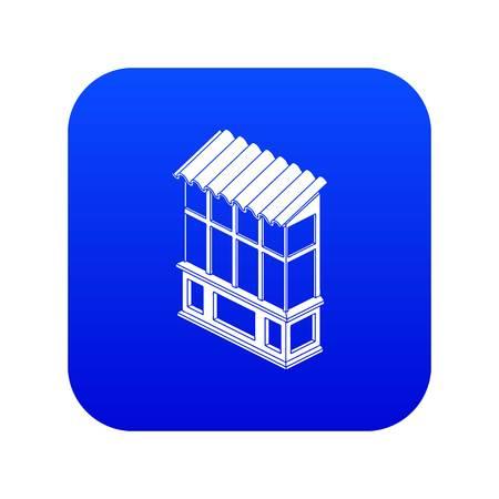 Soviet balcony icon blue vector