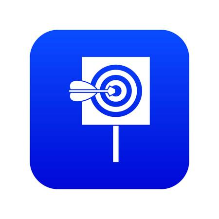 Arrow in the center of target icon digital blue for any design isolated on white vector illustration