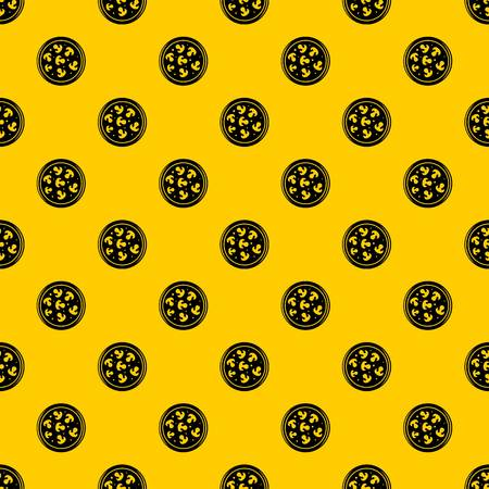 Mushroom pizza pattern seamless vector repeat geometric yellow for any design