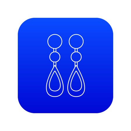 Pearl earrings icon blue vector isolated on white background