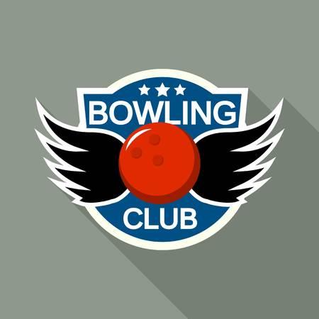Wings bowling club logo, flat style