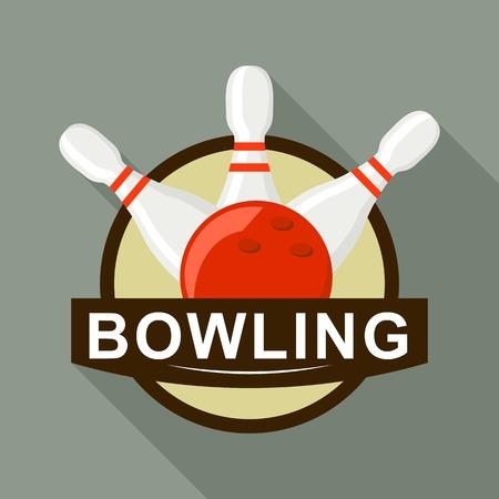 Red ball bowling logo, flat style Illustration