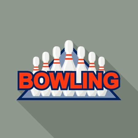 Bowling pins logo, flat style