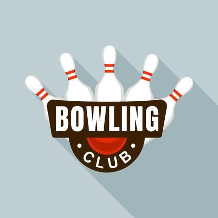 Bowling club skittles logo, flat style