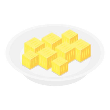 Icône de cube d'ananas. Isométrique de cube d'ananas icône vecteur pour la conception web isolé sur fond blanc