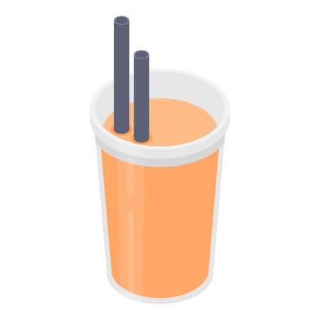 Grapefruit juice icon, isometric style