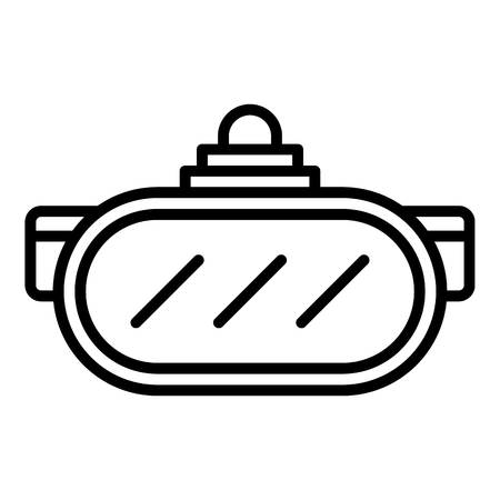 Vr simulation helmet icon, outline style