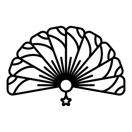 Traditional handheld fan icon, outline style