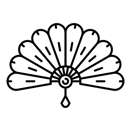 Bamboo hand fan icon, outline style Illustration