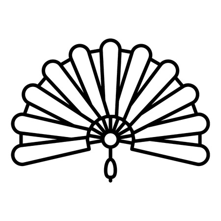 Foldable hand fan icon, outline style Stock Illustratie