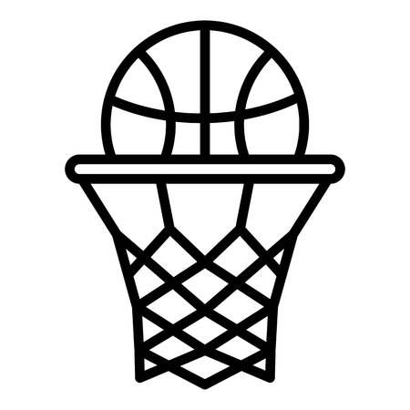 Ball down in basket icon, outline style