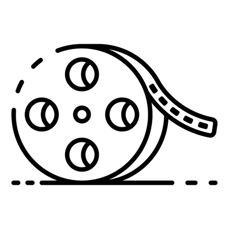 Cinema film roll icon, outline style