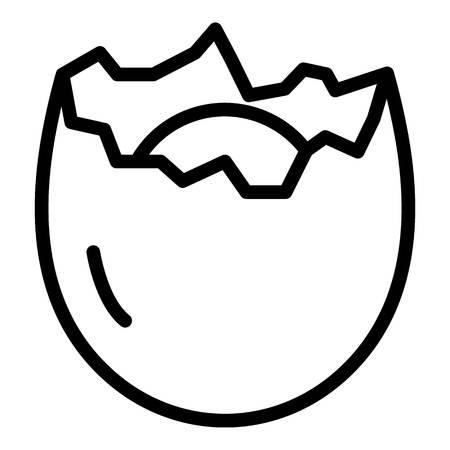 Icono de cáscara de huevo agrietada, estilo de contorno