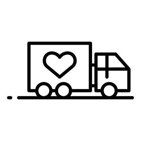 Volunteering truck icon, outline style