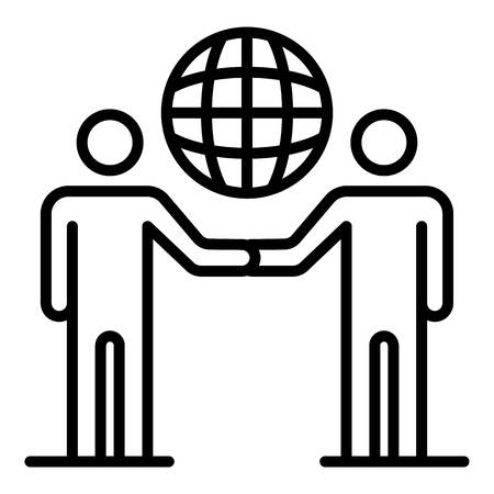 Global partner charity icon, outline style