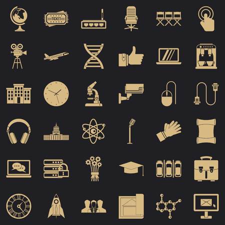 International conference icons set, simple style