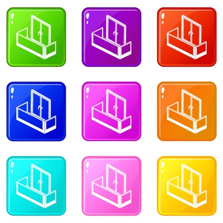 Glass balcony icons set 9 color collection