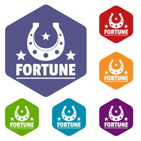 Fortune icons vector hexahedron