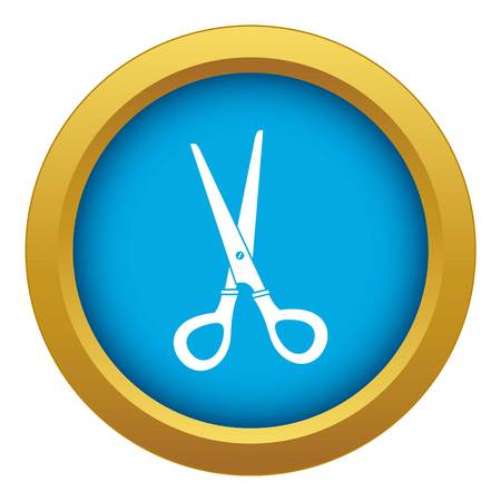 Stationery scissors icon blue vector isolated on white background for any design