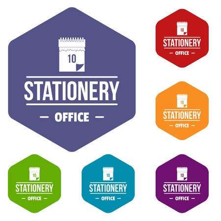 Office stationery icons vector hexahedron