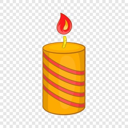 Burning candle icon, cartoon style Çizim