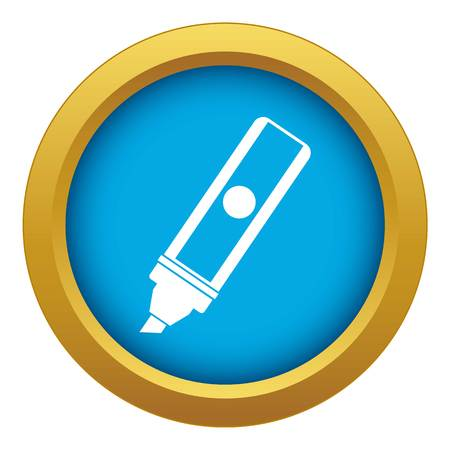 Permanent marker icon blue vector isolated
