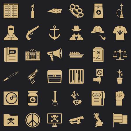 Secret crime icons set, simple style