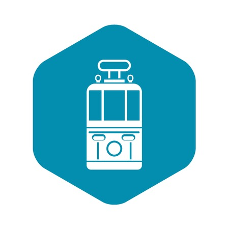 Tram front view icon. Simple illustration of tram front view vector icon for web