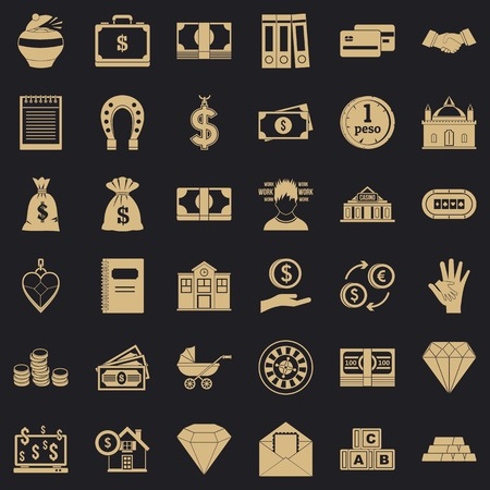 Deposit in bank icons set, simple style