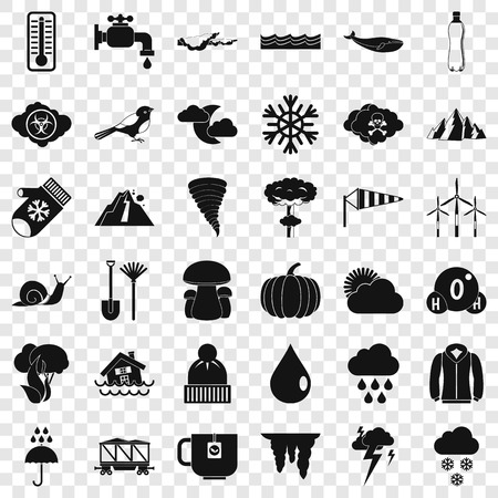 Cloud icons set, simple style Stock Illustratie