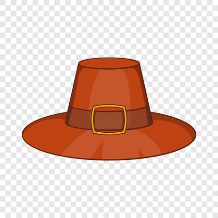 Icono de sombrero de Piligrim en estilo de dibujos animados aislado en el fondo para cualquier diseño web