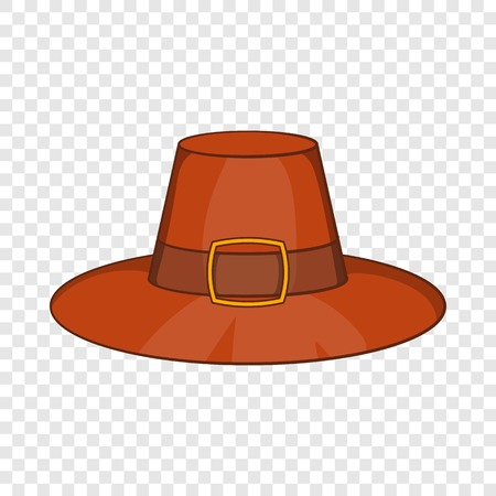 Piligrim hat icon in cartoon style isolated on background for any web design