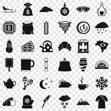 Coffee cup icons set, simple style