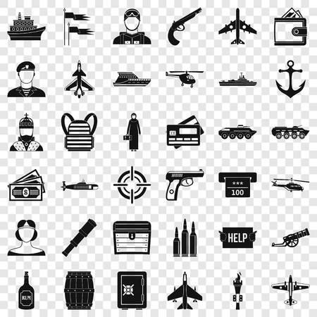 Combat vehicle icons set, simple style Vettoriali