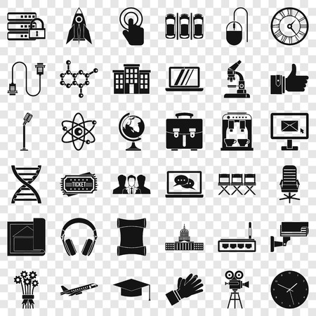 Conference icons set, simple style