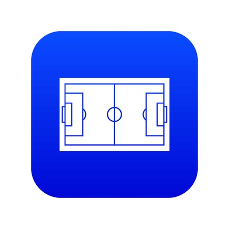 Soccer field icon digital blue for any design isolated on white vector illustration