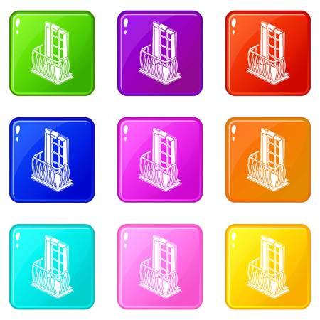Retro balcony icons set 9 color collection