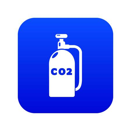 Paintball carbon dioxide canister icon blue vector isolated on white background