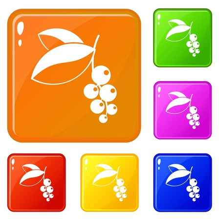 Currant berries icons set collection vector 6 color isolated on white background