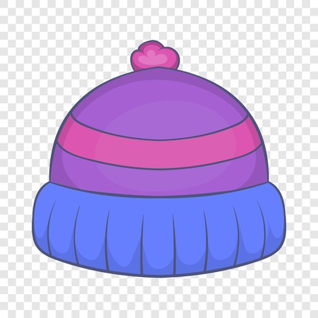 Winter knitted hat with pompon icon in cartoon style isolated on background for any web design