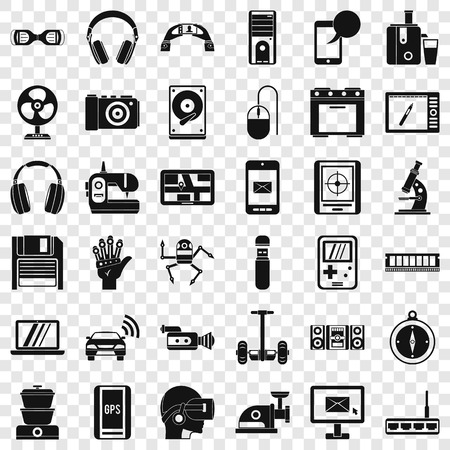 Device icons set, simple style