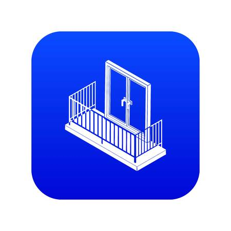 Balcony with metal fencing icon blue vector Stock Illustratie