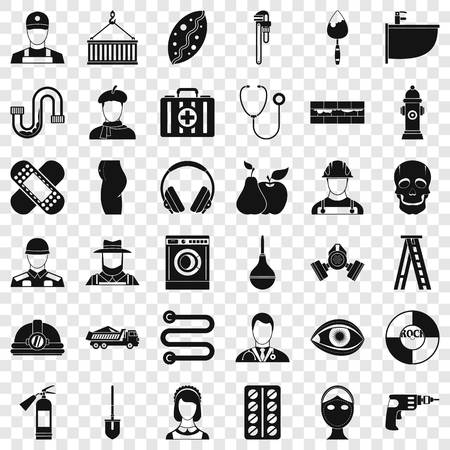 Different profession icons set, simple style Vectores