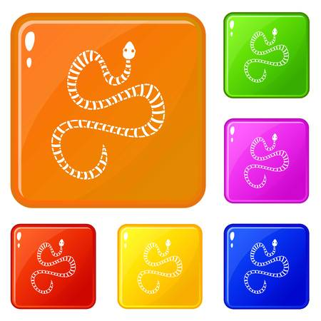 White striped snake icons set vector color Vettoriali