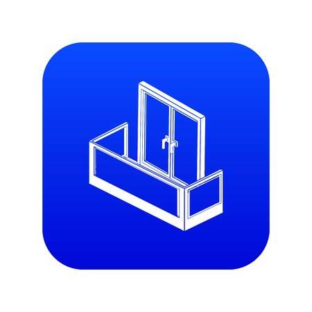 Glass balcony icon blue vector