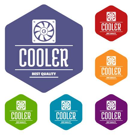 Control cooler icons vector hexahedron Ilustração