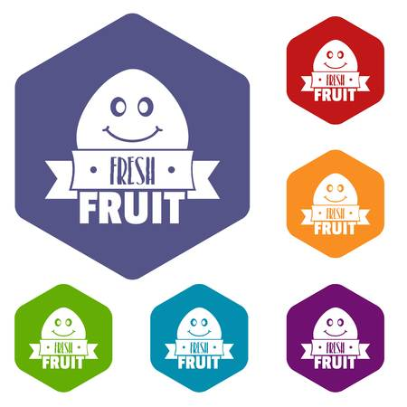 Fresh fruit icons vector hexahedron